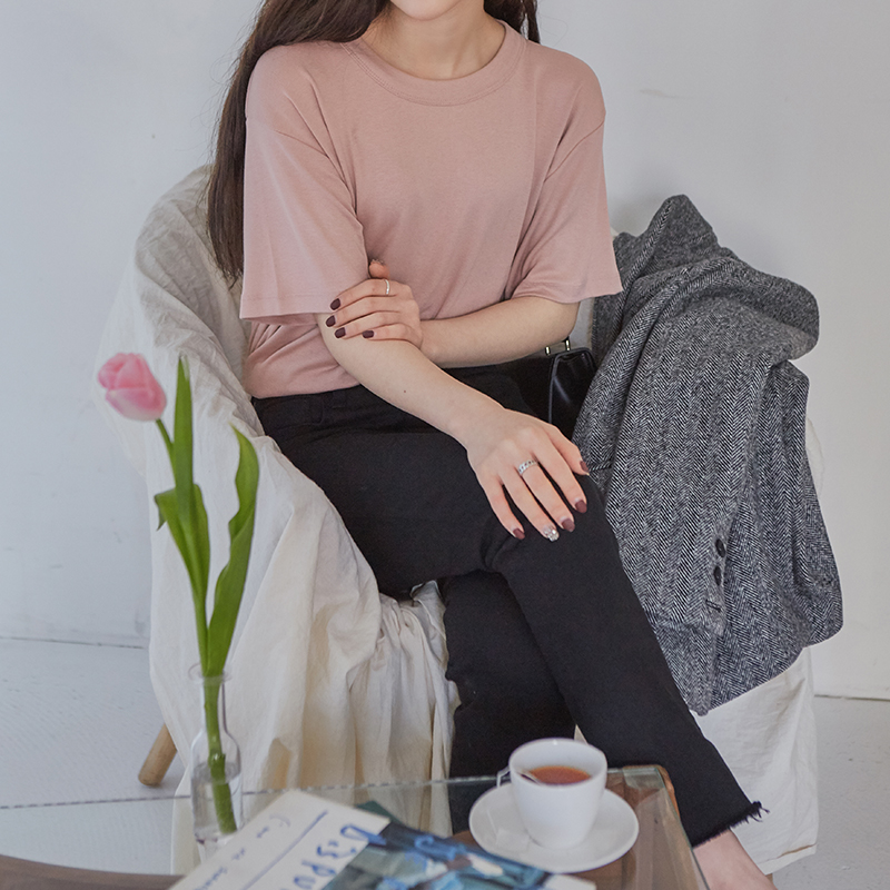 [무료배송] Soft basic half t-shirts-모스빈