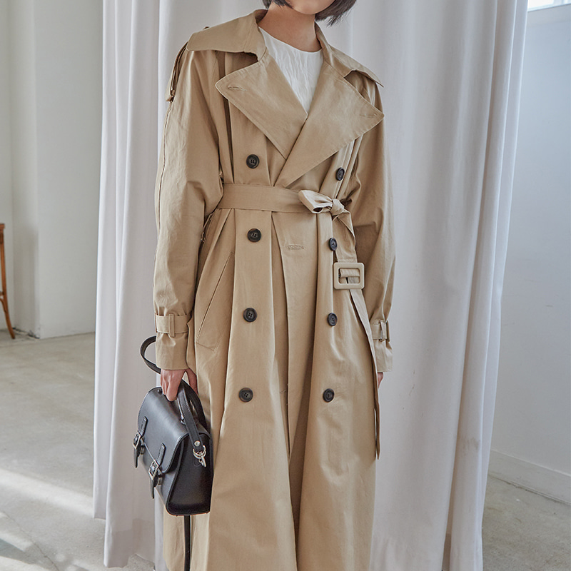 [무료배송] Boxy street trench coat-모스빈