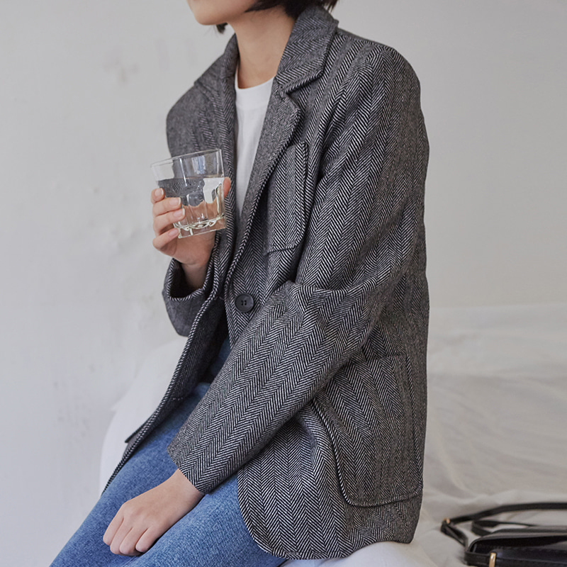[무료배송] Light herringbone jacket-모스빈