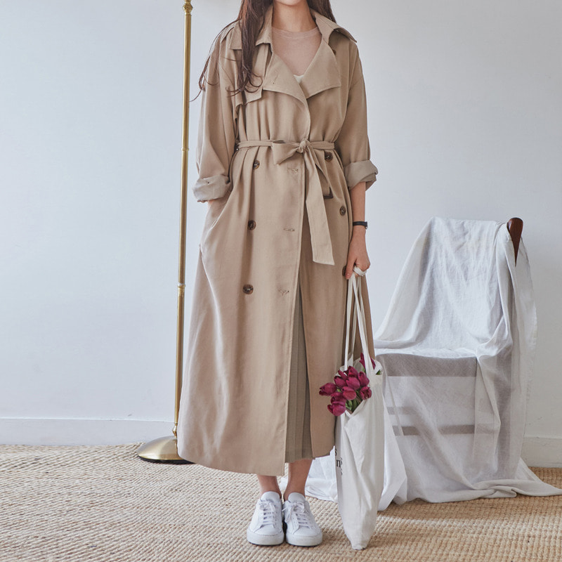 [무료배송] Romantic maxi trench coat-모스빈