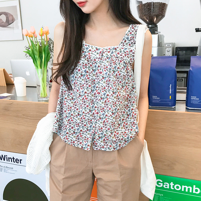 [무료배송] Flower lace sleeveless-모스빈