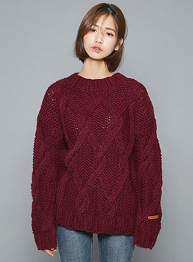 핸드메이드 wool twist knit
