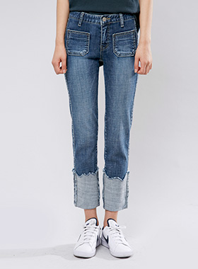 [무료배송] bold roll-up denim pants-모스빈