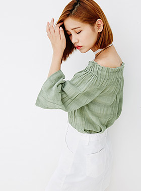 [무료배송] pattern point off shoulder-모스빈