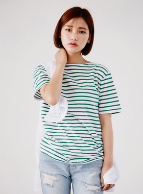 coloration stripe half tee 패션쇼핑몰 모스빈(Mossbean)