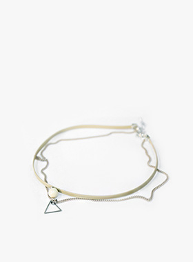 2 line choker necklace-모스빈