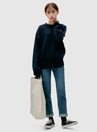Slit point round neck knit 패션쇼핑몰 모스빈(Mossbean)