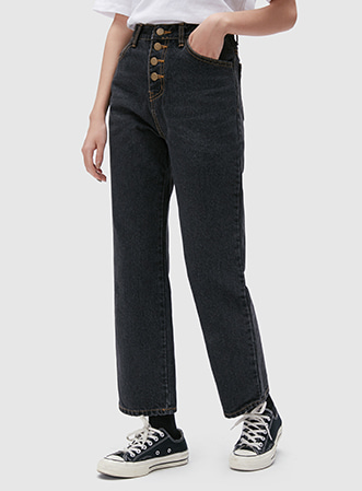 [무료배송] Button straight denim pants-모스빈