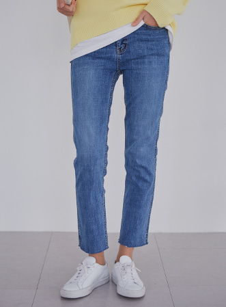 [무료배송] Light cut-off denim pants-모스빈