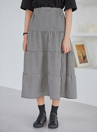 [무료배송] Check flare long skirt-모스빈