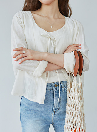 [무료배송] Simple tie sleeveless set-모스빈