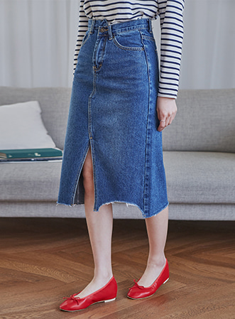 [무료배송] Middle slit denim skirt-모스빈
