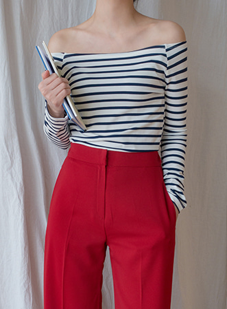 [무료배송] Stripe off-shoulder tee-모스빈