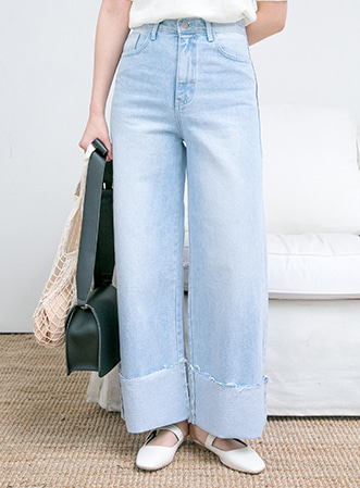 [무료배송] Bright wide denim pants-모스빈