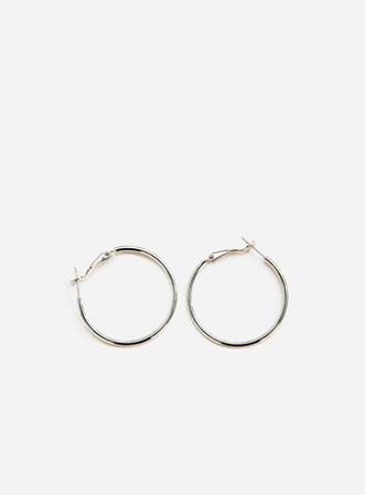 Simple silver earring-모스빈