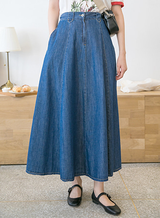 [무료배송] Vintage denim long skirt-모스빈