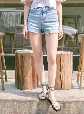 [무료배송] Belt unbal denim shorts-모스빈