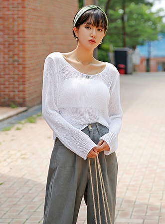 [무료배송]See-through cropped top-모스빈