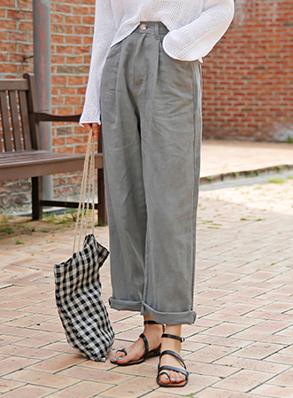 [무료배송]Linen banding wide pants-모스빈